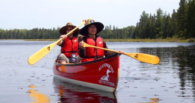 Jill canoeing in Algonquin Park